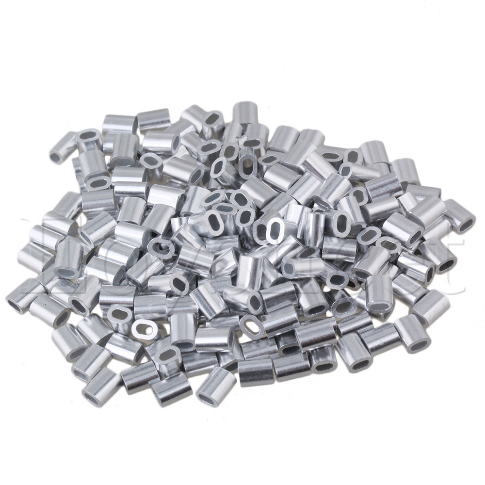 100pcs Oval Aluminum Sleeves Clamps for 1mm Wire Rope Swage Clip