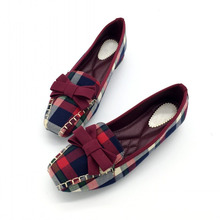 England Style Gingham Women Casual Loafers Spring Autumn Square Toe Bowtie Slip On Flats For Woman Ladies Single Shoes Plus Size fashion bowtie women s flats shoes spring autumn round toe slip on ballet flats shoes for woman ladies casual loafers gray black