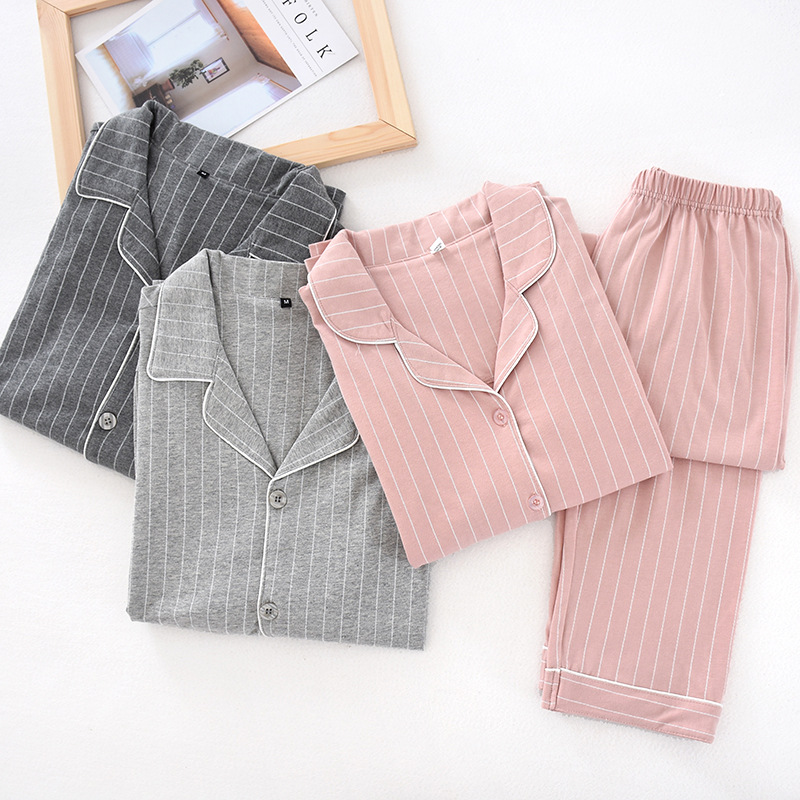 Autumn Cotton Couple Pajama Set Women Solid Plus Size Long Sleeve Cardigan Long Pant Home Suits Sleepwear Nightgown Female