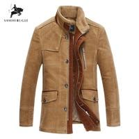 Plus Size 6XL 7XL Top Quality Woolen Warm Men's Warm Winter Jacket Windproof Casual Outerwear Thick Medium Long Coat Men Parka