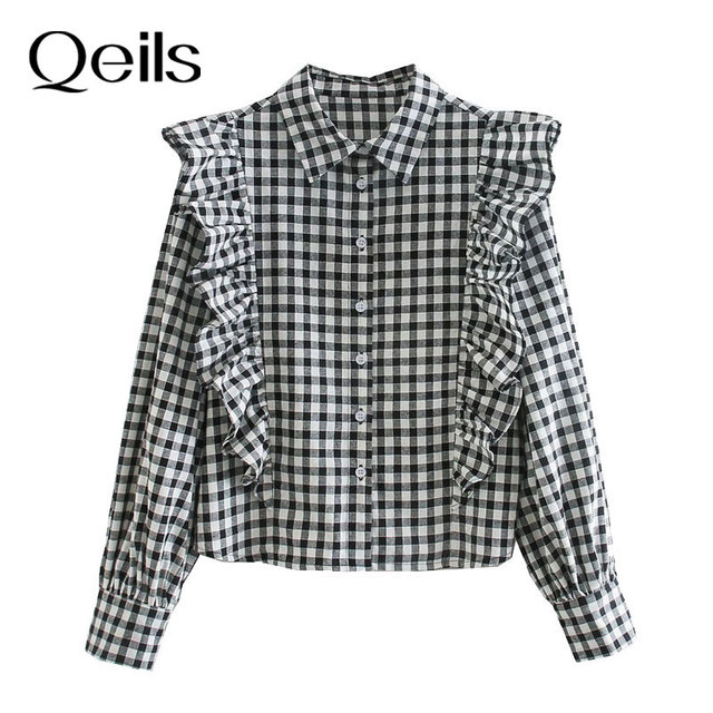 Qeils Women Fashion Ruffled Plaid Blouses Casual Vintage Long Sleeve Turn-Down Collar Button-Up Female Shirts Blusas Chic Tops 1