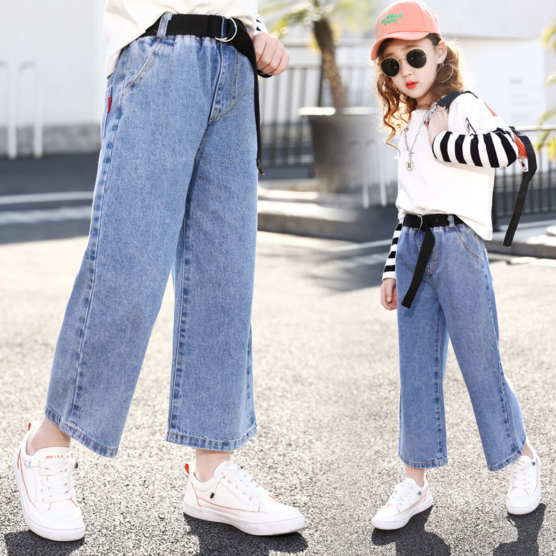 Kids Jeans Girl Wide Leg Pants Girls Jeans Elastic Waist Jeans For Girls Spring Autumn Casual Clothes For Girls 5 7 9 11 13