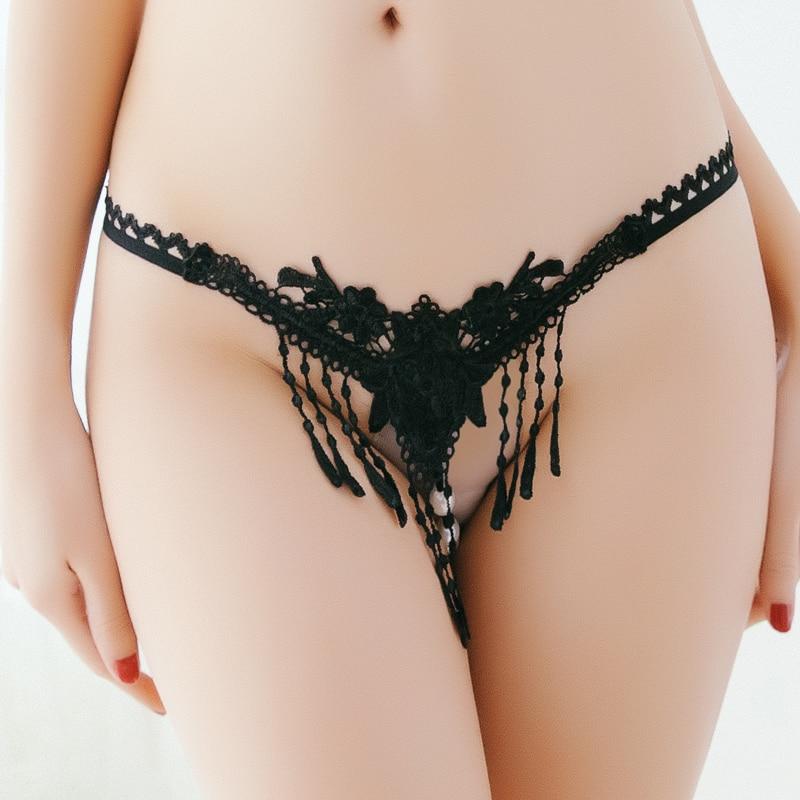 Women Sexy Lingerie Underpants Massage Low Waist Panties Porno Girls Open Crotch Thongs Transparent Temptation Pearl Underwear