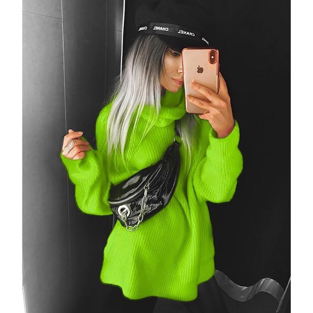 Fashion Turtleneck Oversized Sweater Winter Clothes Women Neon Green Pink Orange Pullover Ladies Knit Tops 4
