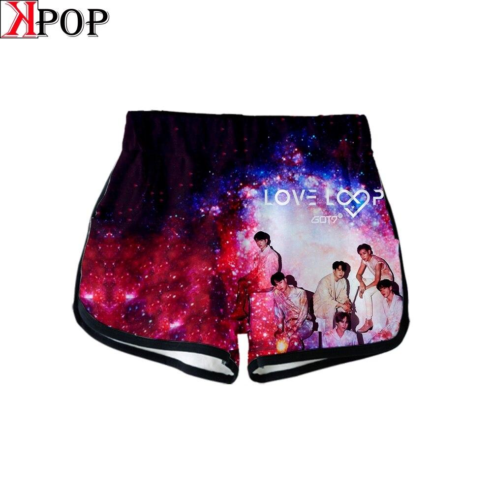 Love GOT7 Summer Gothic Shorts Cute Casual Fashion Kpop Women Sexy Harajuku Tight Shorts Biker Shorts New Album Call My Name