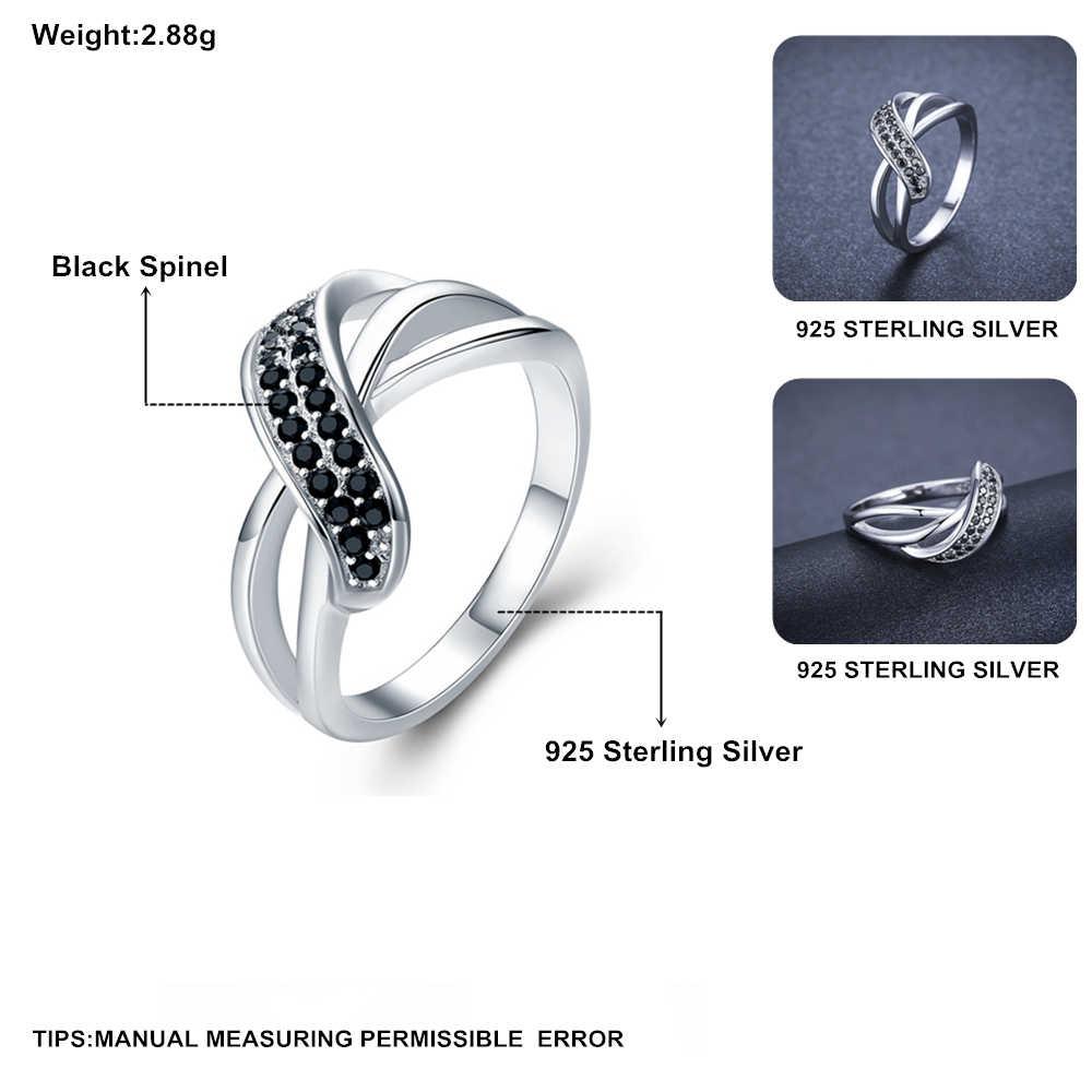 คลาสสิก 2.9g 925 เงินสเตอร์ลิงเครื่องประดับหมั้นสีดำ Spinel หมั้นแหวน G036