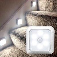 Sensor de movimiento del cuerpo PIR, luz nocturna con batería activada, 6 led, lámpara de pared para el hogar, mesita de noche, escaleras, iluminación de cocina, novedad