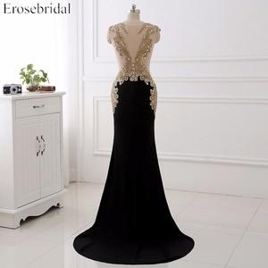 Image 2 - Erosebridal preto sereia vestido de noite longo laço de ouro manga longa vestido de noite com trem 8 cores