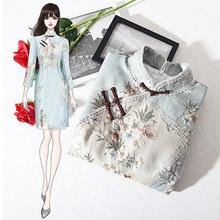 Новогоднее винтажное платье Ципао в китайском стиле для девочек