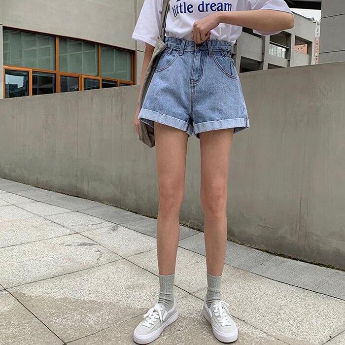 Женские джинсовые шорты с высокой талией, повседневные свободные джинсовые шорты с эластичной резинкой на талии размера плюс, новинка 2020|Джинсы МОМ|   | АлиЭкспресс