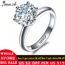 LMNZB Luxury 2 Carat White Solitaire Ring Gold Filled with 18KRGP Stamp Cubic Zirconia Engagement Wedding Rings for Women LR168(China)