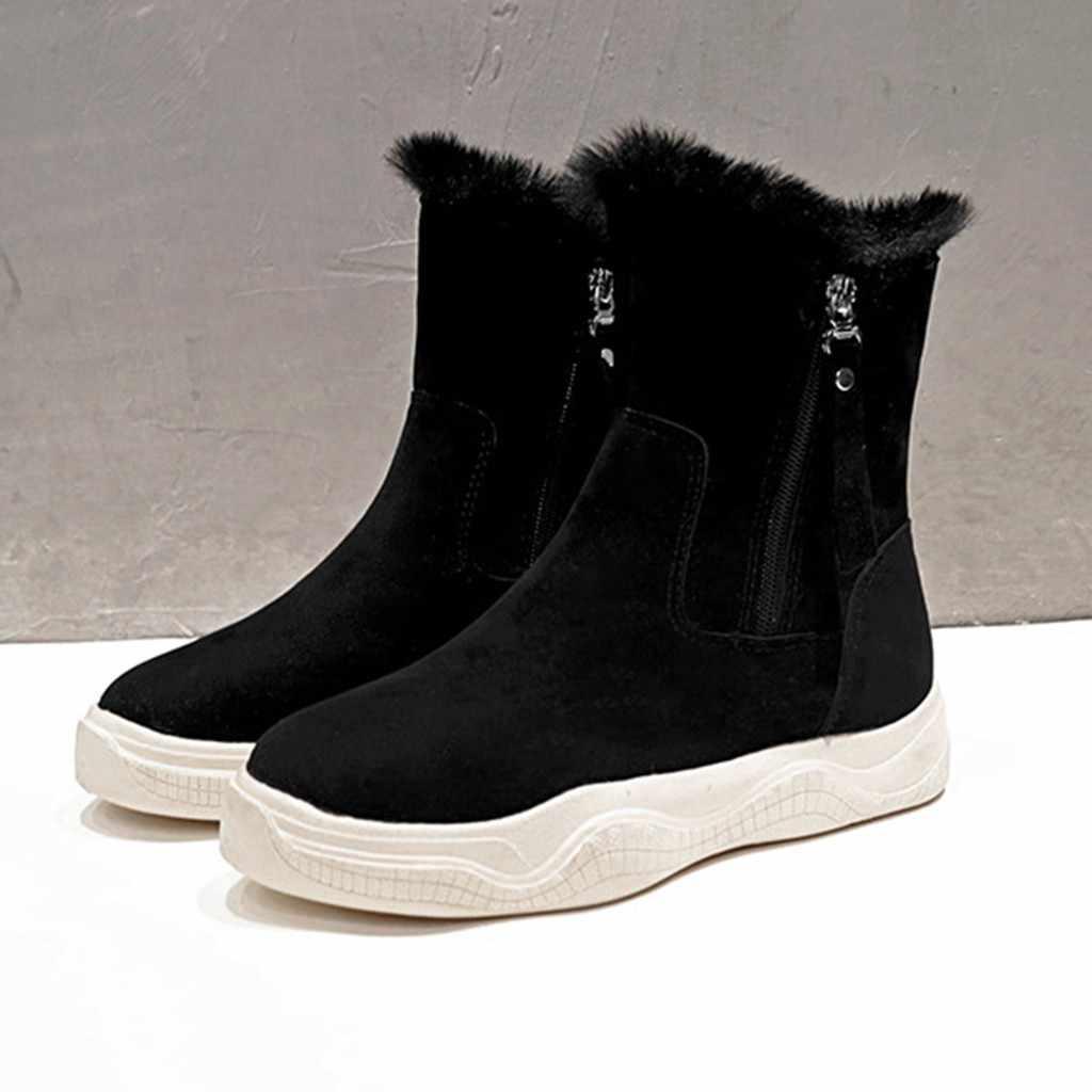หนังนิ่ม 2020 ตุ๊กตาตกแต่งหลอดขนาดกลางรองเท้าด้านข้างซิปรองเท้าผู้หญิงฤดูหนาวรองเท้าขนาด 35-40 สีดำ Beige คุณภาพสูง