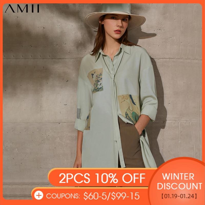 Amii-Blusa holgada informal de estilo Vintage para primavera y verano, camisa con estampado de solapa y cinturón para mujer, 12140104