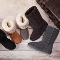 HOT Australian Women Unisex Tall Snow Boots Waterproof Winter Leather Long Boots Brand Winter Warm Outdoor Shoes Size EU 35 40