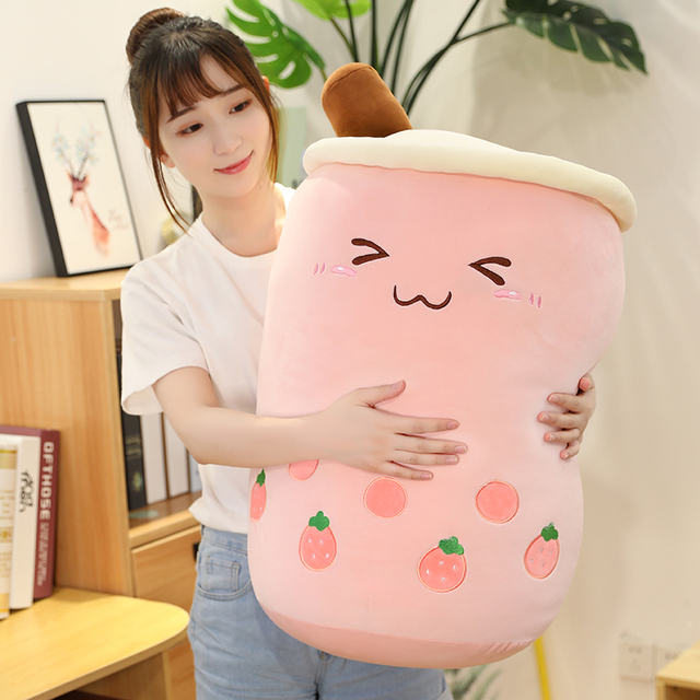 24~70cm Pearl Milk Tea Plushie Cartoon Big Fully Stuffed Drink Food Toy Snack Smile Face Home Bed Decor 1