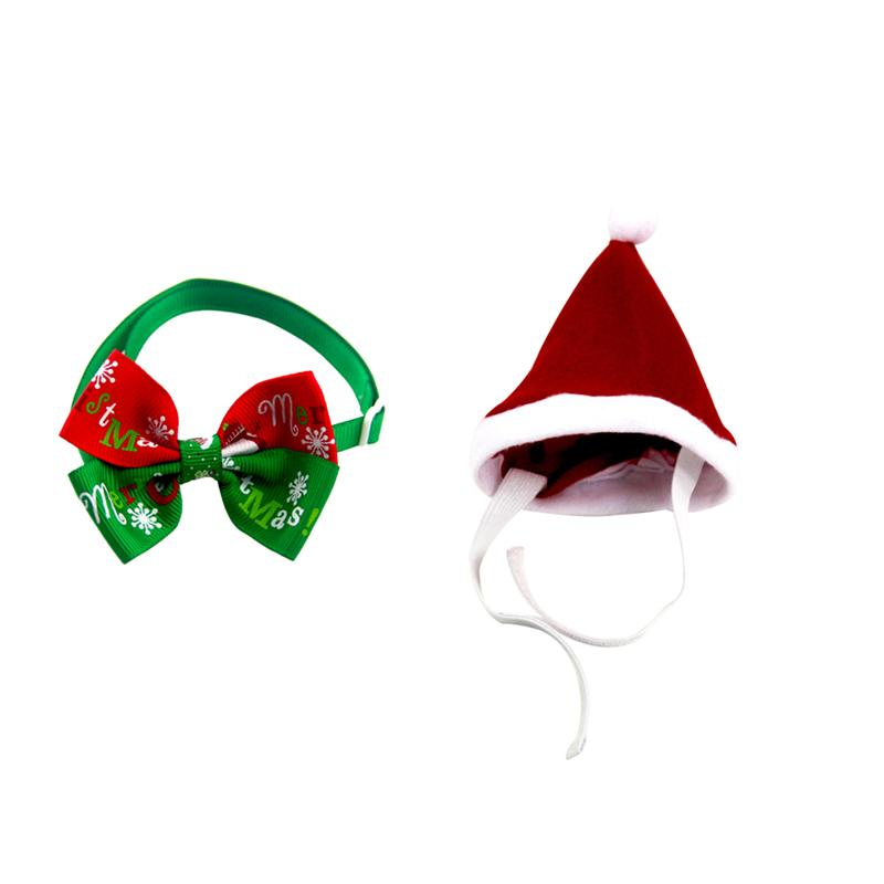 2pcs Adorable Pet Xmas Costumes Adjustable Christmas Bow Tie And Hat Cosplay Collar Headwear For Cats Dogs