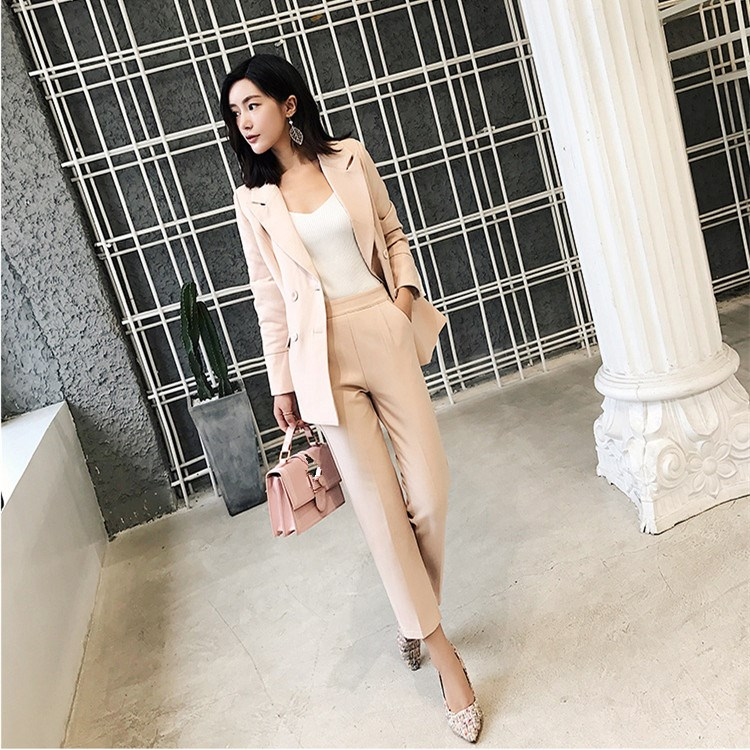 Notched Collar Blazer Jacket Ankle-length Pants Two Pieces Set Women 2019 Autumn OL Outfits Pant Suits