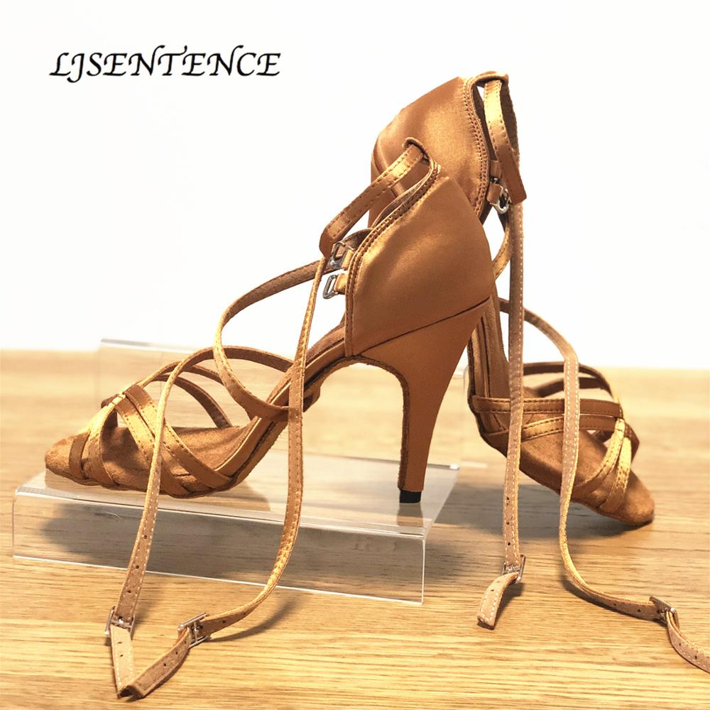 Salsa Tango Ballroom Latin Dance Women Shoes Shine Brown Satin Summer Kizomba Rumba Dancing Sandals Women 7.5cm 9cm 10cm Spike