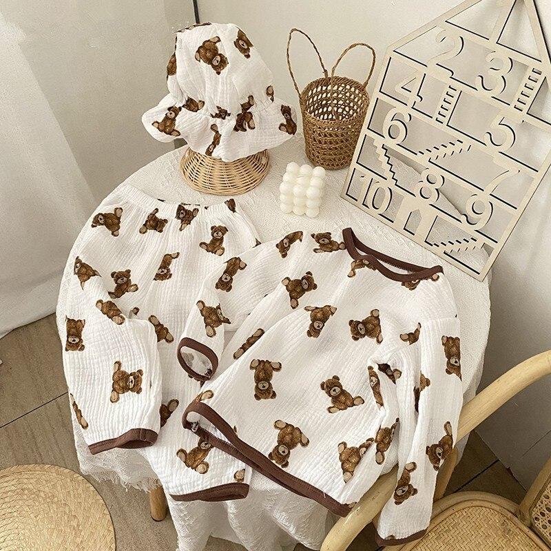 1205.0¥ 51% OFF|2021 New Cartoon Baby Clothes Set Boy And Girls Bear Print Long Sleeve T Shirt + Pa...