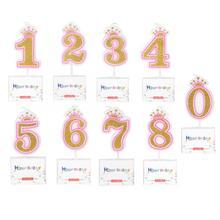 Цифры на день рождения 0, 1, 2, 3, 4, 5, 6, 7, 8, золотые Детские вечерние украшения для торта, декоративные свечи для торта