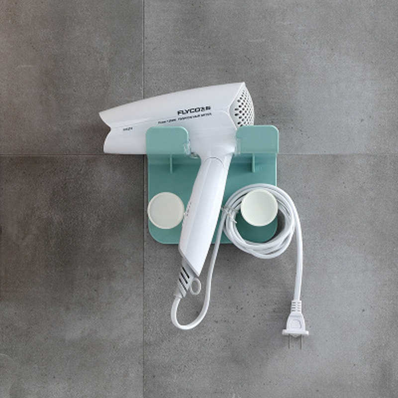 浴室の壁マウントプラスチックブローヘアドライヤーホルダードライヤープラグワイヤーオーガナイザー棚収納ラックドライヤーハンガーフック棚