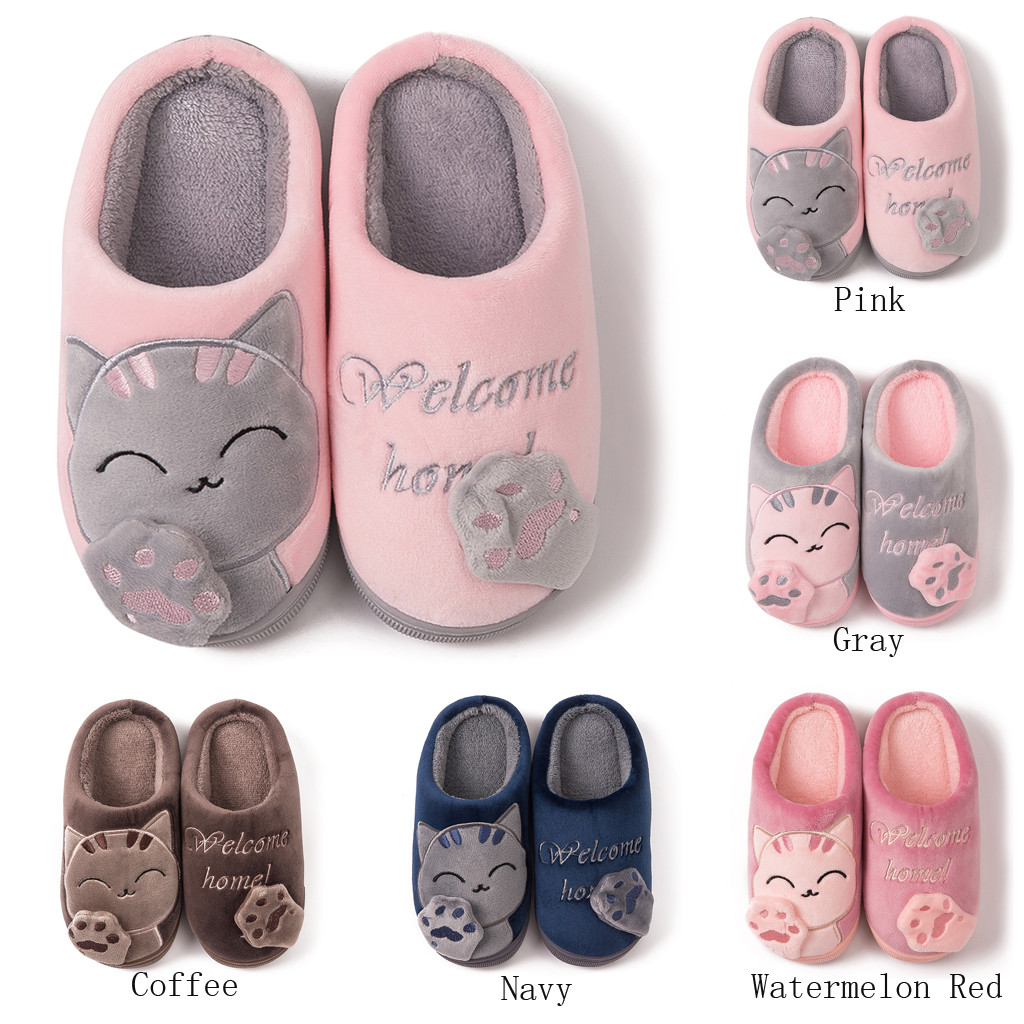 Kids Baby Boys Girls Winter Slippers Cartoon Cat Non-slip Home Indoors Shoes Baby Winter Home Slippers Soft Comfortable Shoes