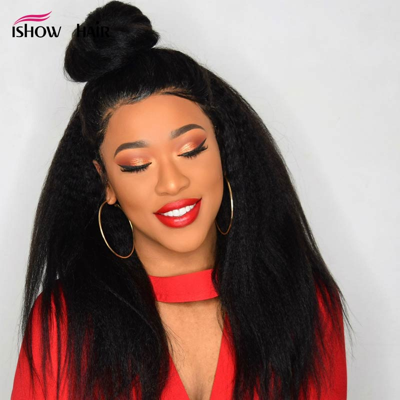 Ishow Kinky Straight Wig 13X4 Lace Front Human Hair Wigs For Black Women Brazilian Remy Coarse