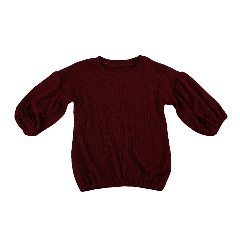 Г. Весенне-осенняя одежда для малышей футболка с длинными рукавами для маленьких девочек топы, свитер Детская футболка, пуловер Топ, Однотонная рубашка От 1 до 6 лет - Цвет: Wine Red