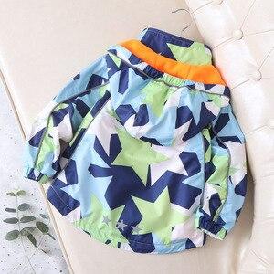 Image 5 - Fashion Waterproof Child Coat Warm Fleece Hooded Baby Boys Jackets Pentagram Print Children Outerwear Kids Outfits For 90 150cm