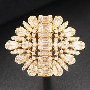 Image 5 - Godki 2020 nova moda luxo charme aaa baguette corte zircão cúbico anéis de casamento para mulheres t forma pedra festa de casamento jóias