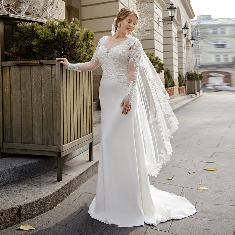 Eightale Plus Size Wedding Dress Scoop Appliques Lace Long Sleeve Mermaid Wedding Gowns Vintage Bridal Dress Vestido Noiva 2020
