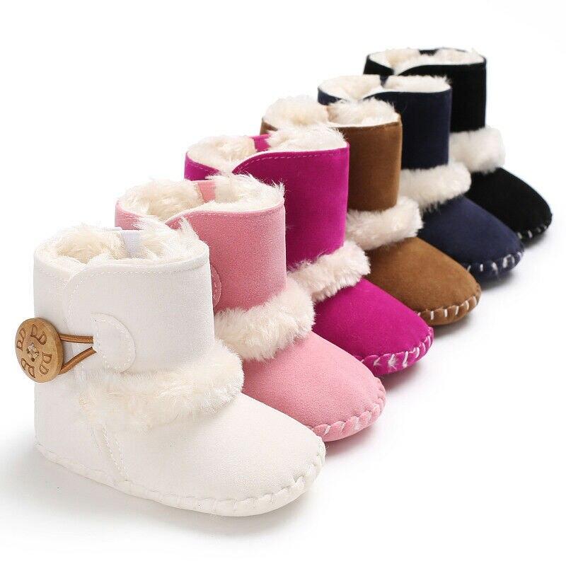 Зимние сапоги для новорожденных девочек 0-18 месяцев; Теплая зимняя детская обувь; Однотонные плюшевые ботильоны на пуговицах