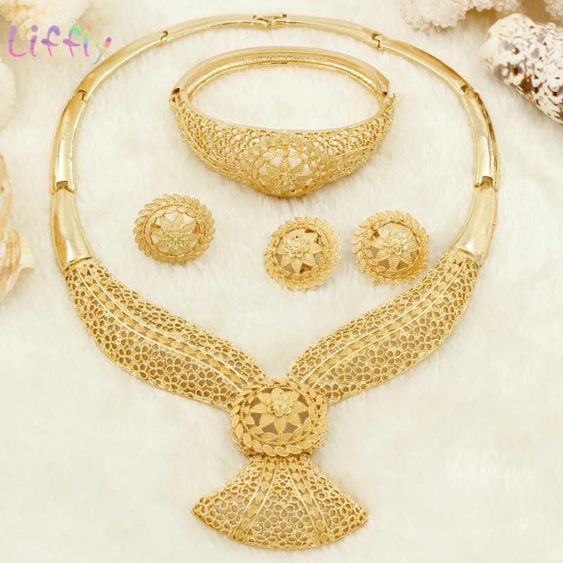 Liffly ювелирные комплекты dubai золото Модных Африканских бусины комплект ювелирных изделий нигерийские Свадебные подарки свадебные ювелирные наборы