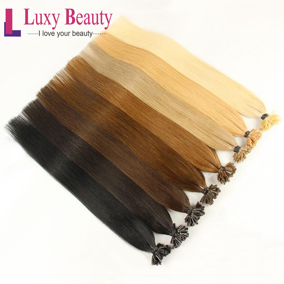 """LuxyBeauty Nail Hair 1g/pc 14""""-22"""" Fusion Hair Extensions Straight Remy Keratin Pre Bonded Human Hair 8 Color"""