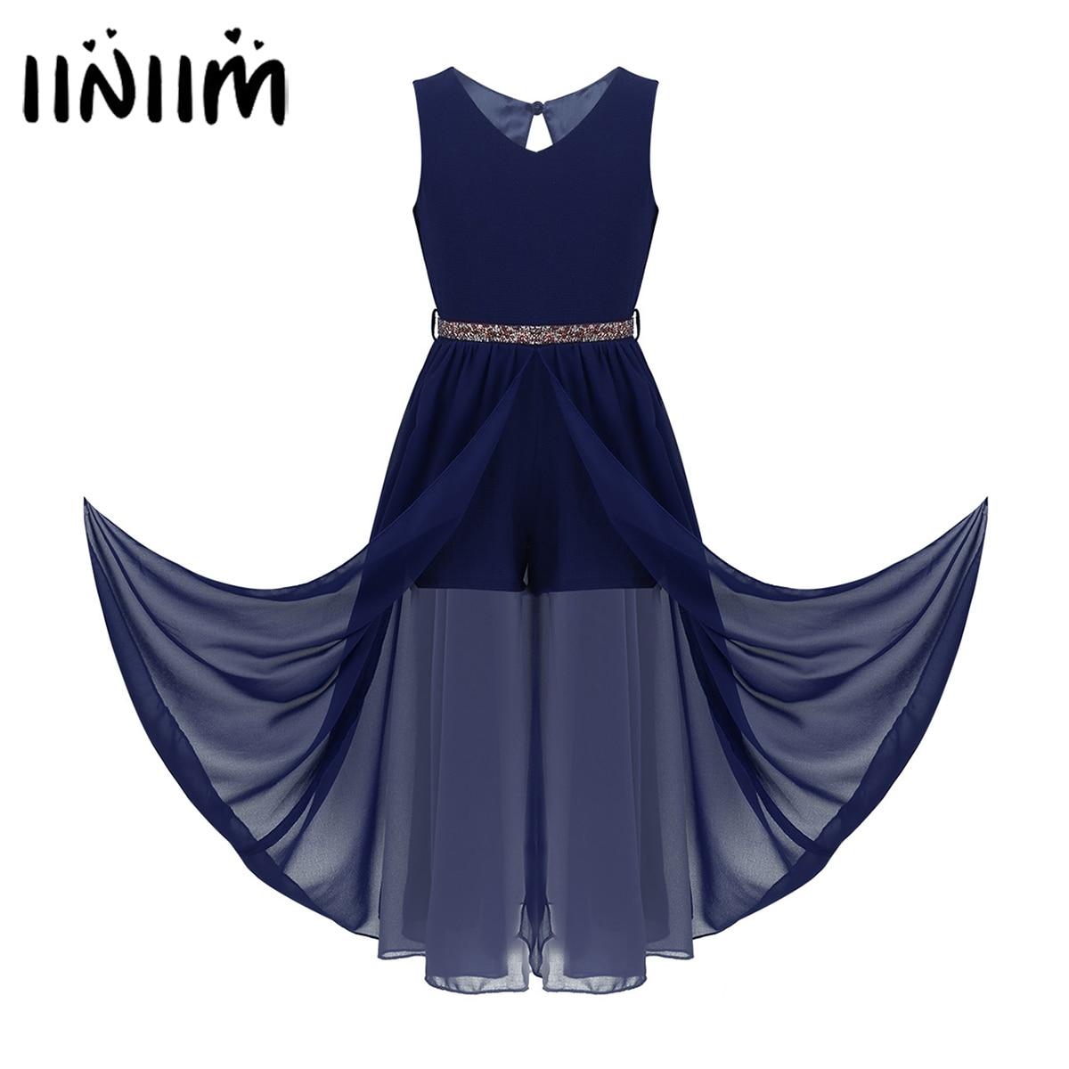 Kids Girls Ballroom Dance Competition Dress Short Jumpsuit Romper Maxi Dress With Rhinestone Belt For Pageant School Dancewear