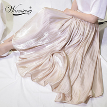 Elegant Solid Midi Pleated Skirt Women Korean High Waist Summer Ladies Satin Maxi Skirt Female Faldas Saia  B-113