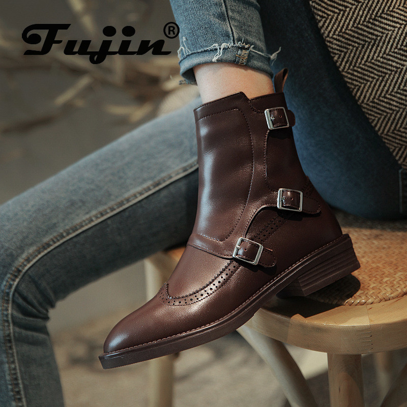 fujin high quality leather women boots riding motorcycle punk oxford england style women ankle boots shoes winter plush fur warm