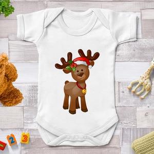 Moda wesołych świąt Mini Baby Romper Supersoft Casual niemowlęce body reniferowe kombinezony dziecięce Onesies