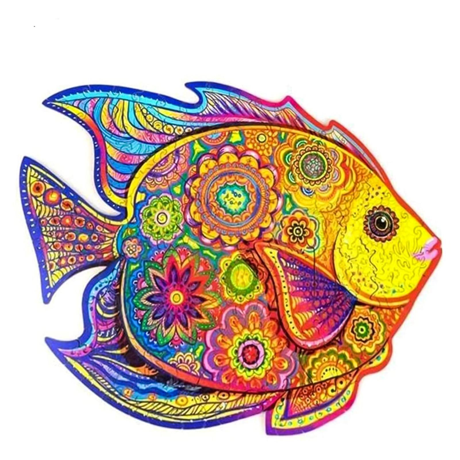 Benzersiz ahşap hayvan bulmaca gizem balık 3D bulmaca hediye ev dekorasyon interaktif oyun oyuncaklar yetişkin çocuklar için eğitim