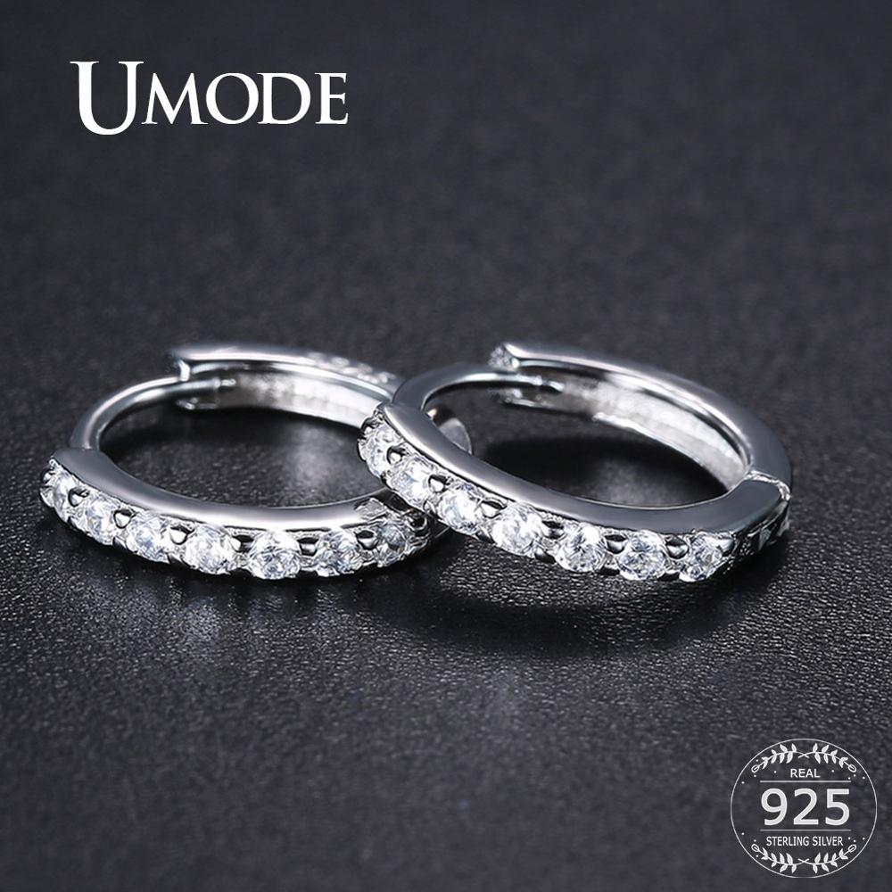 UMODE Huggie Round Circle 925 Sterling Silver Earrings Cubic Zirconia Silver Hoops Earrings For Women Girls Fine Jewelry ULE0385
