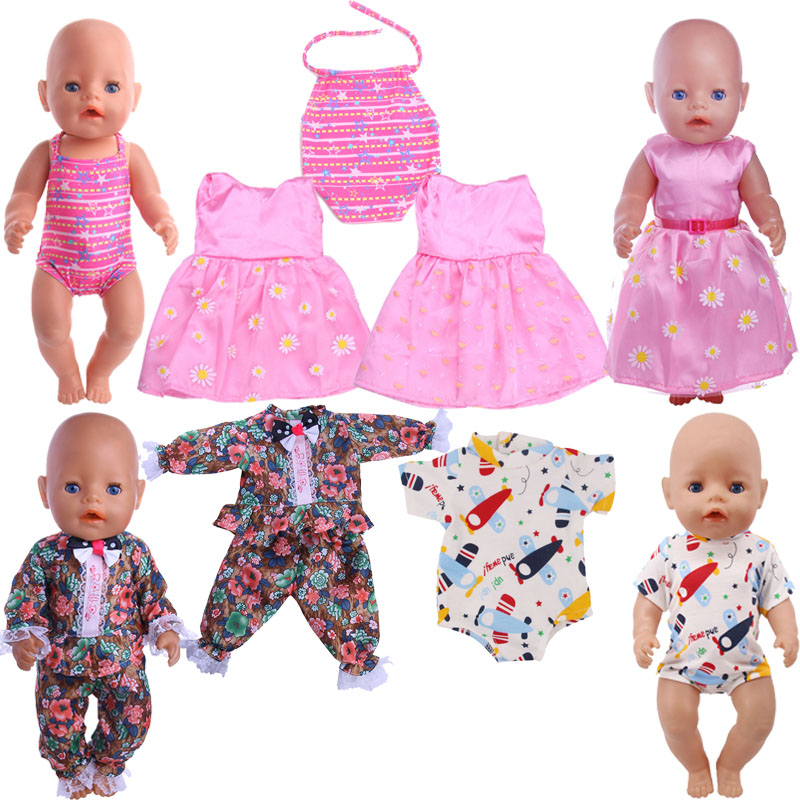 Doll Clothes Pink Skirt Swimsuit Flared Pant Fit 18 Inch American Doll And 43cm Baby New Born Doll,Our Generation, Gift For Girl