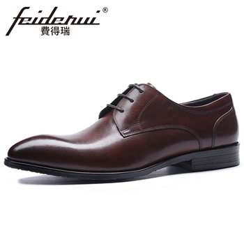 New Italian Genuine Leather Men's Handmade Derby Wedding Oxfords Pointed Toe Laces Man Formal Dress Party Shoes For Male BQL249