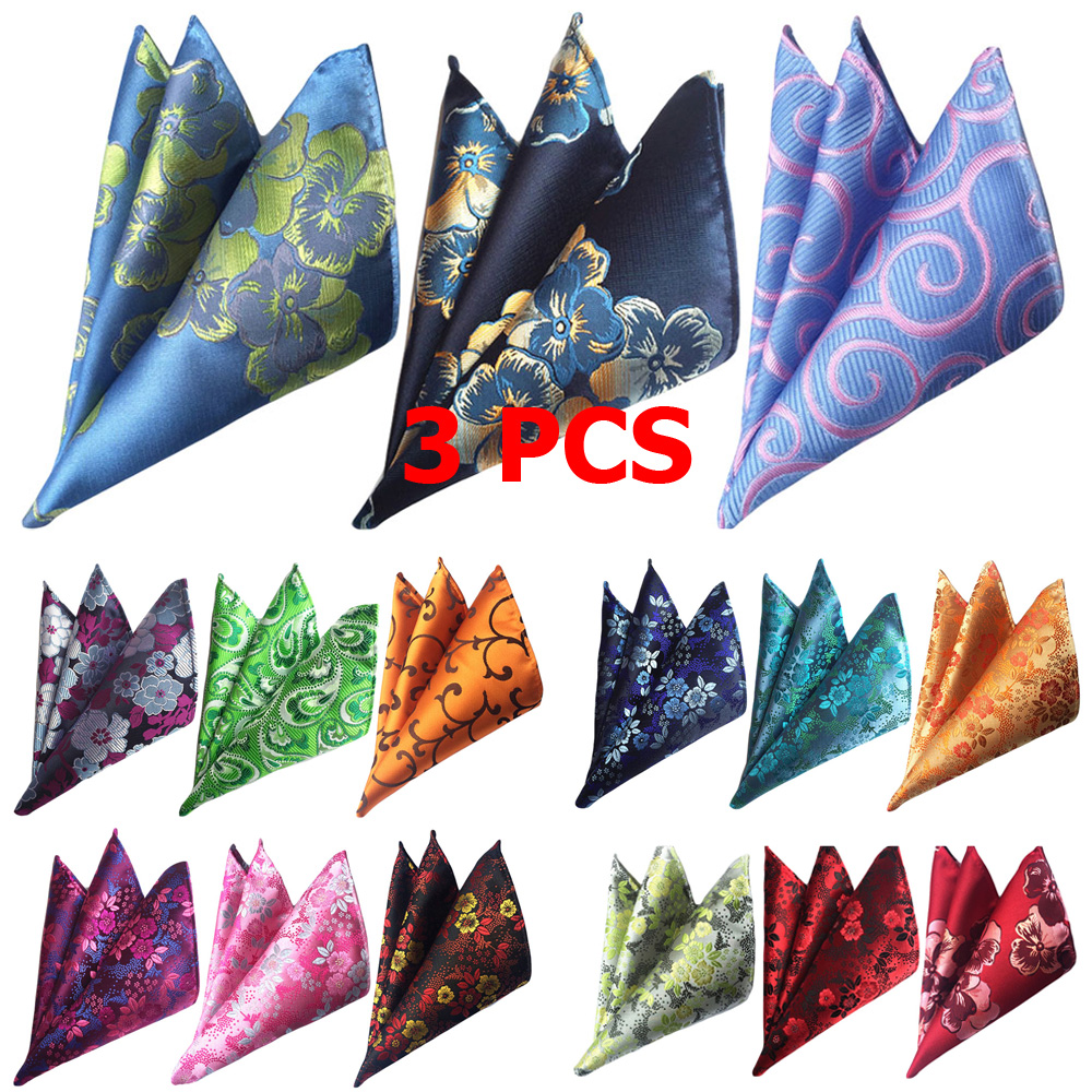 3 PCS Mens Flower Colorful Pocket Square Handkerchief Wedding Party Hanky