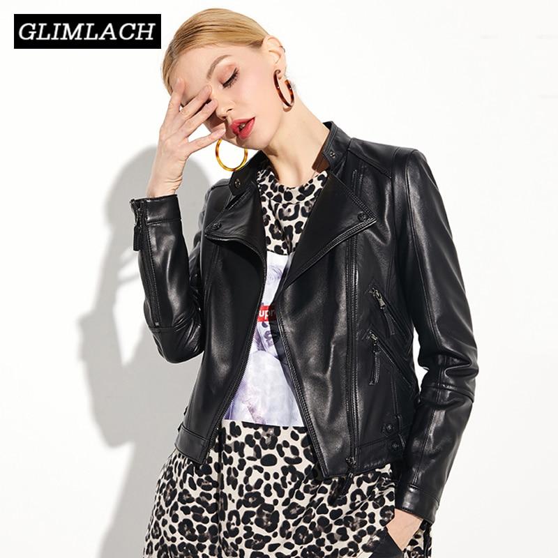 2019 New Brand Luxury Genuine Leather Jacket Women Black Fashion Slim Motorcycle Biker Sheepskin Real Leather Short Coats Female