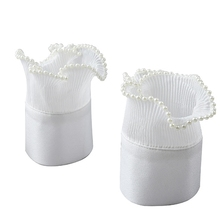 Women Imitation Pearl Beading Pleated Ruffled Horn Cuff Solid Color Buttons Detachable Sweater Fake Sleeves
