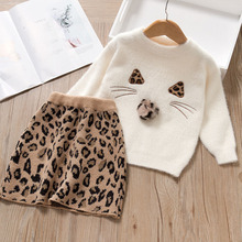 Autumn Winter Kids Clothing Set for Girls Long Sleeve Sweater Printed Leopard Dress Casual Children 2pcs Outfits Christmas Dress