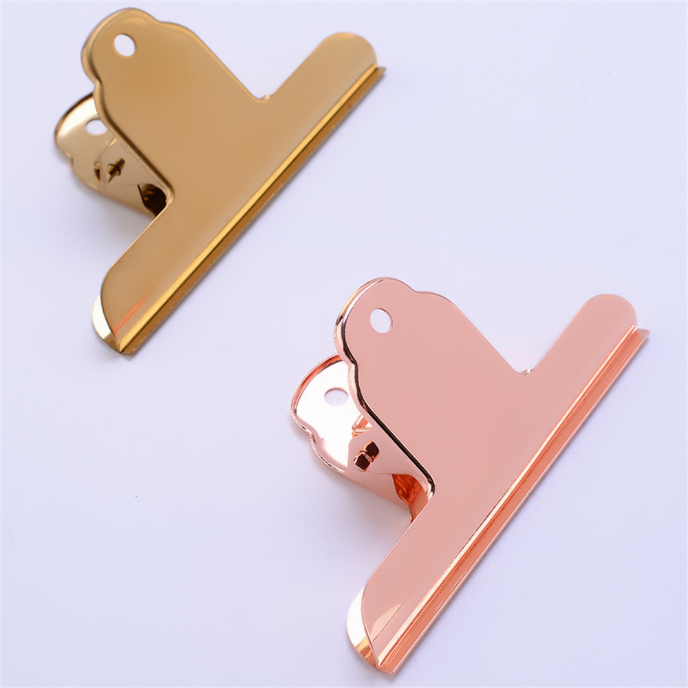 Luxury Gold Rose Gold Metal Clip File Paper Documents Binder Clip Tickets Clamp