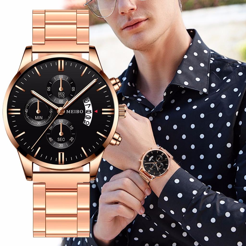 Men Stainless Steel Mesh Belt Business Watch With Calendar Luxury Men Sport Watch Quartz MEIBO Clock Relogio Masculino