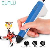 어린이를위한 sunlu m1 3d 프린터 펜 교육 3d 인쇄 연필 diy 완구 가제트 어린이 및 성인 지원 pcl/pla 필라멘트