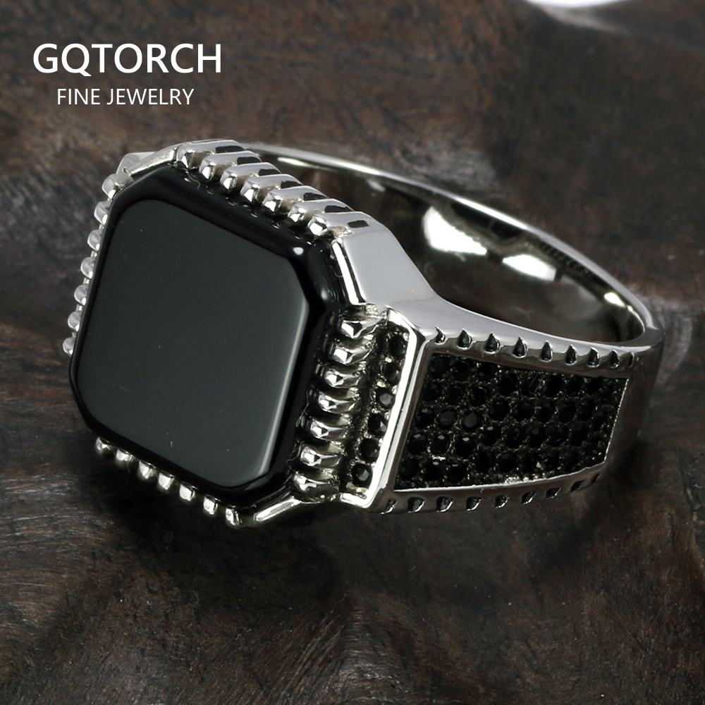 Genuine Solid 925 Sterling Silver Turkish Rings For Men Black Rings With Stone Square Natural Onyx Vintage Male Jewelry AnelliRings   -